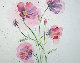 Original watercolour painting of Cosmos flower, watercolour flower painting, nature watercolor