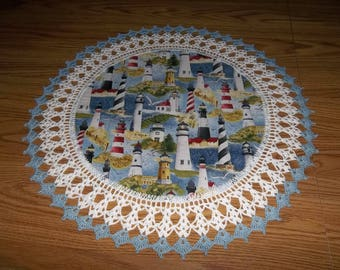 Crocheted Doily Doilies Lighthouse Doily 20 inches Lace Doily Fabric Center Crocheted Edge Centerpiece Table Topper Handmade Gift