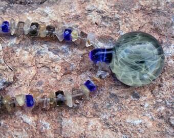 SMOKE RINGS Necklace (Lampwork glass, Smoky Quartz, Pyrite)