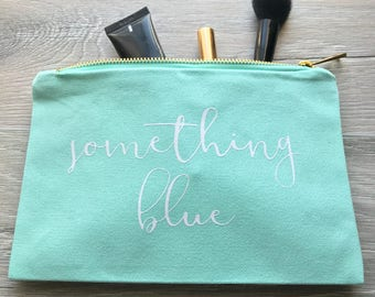 Something Blue Bridal Make-Up Bag, Wedding Make-Up Bag, Tiffany Blue Makeup Bag