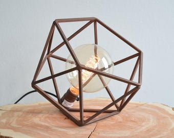 Table Lamp, Modern Geometric Edison Bulb Lamp, The Mercedes Geometric Table Lamp, UL Certified Residential Commericial ,  Cast Copper Color