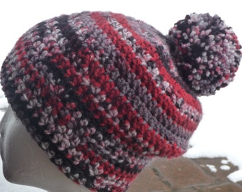 RED grey black white crochet beanie hat with pom pom top slouch loose fit
