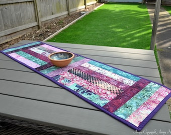Purple and teal batik table runner. Modern graphic table runner, abstract contemporary table decor. New home, housewarming gift UK