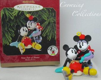 1997 Hallmark New Pair of Skates Mickey Minnie Mouse Disney Ornament Keepsake Pie Eyes Vintage