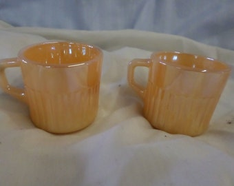 "Pair of Two Vintage Fire King Peach Lustre Demitasse Espresso 2"" Small Cups"