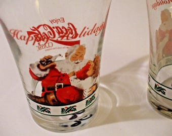 Vintage 1996 Enjoy Coca Cola Classic Coke Happy Holidays set of 2 glasses