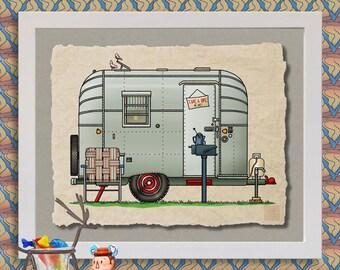 Vintage Avion happy camper art Cute whimsical travel trailer prints add fun to RV, trailer or cabin as 8x10 & 13x19 wall decor