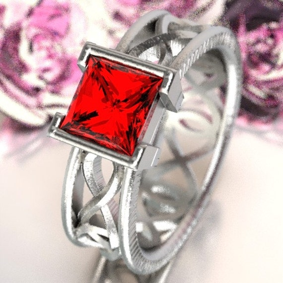 Celtic Ruby Princess Cut Ring With Infinity Symbol Design in Sterling Silver, Made in Your Size CR-1028