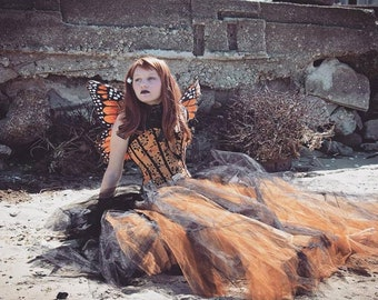 Romantic steampunk tulle tutu skirt w/trail black copper glimmer goth fairytale Fantasy wedding alternative bride  -All Sizes- SOTMD