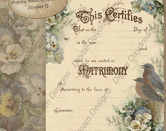 FOUR Printable Wedding Certificate Marriage Certificate Instant Download Pansies No 17 Vintage Wedding Shower Gift Non-Religious Wording
