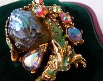 HAR dragon EARRING pin brooch   repurposed earring into brooch   dragon egg stone   iridescent lava rock stone   vintage designer signed Har