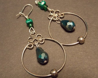 Four Leaf Clover Hoop Earrings