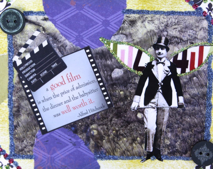 Handmade Altered Art Folded Greeting Card with Quotation, 3D, Size 5x7, Blank Inside, movie, A Good Film