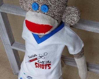 Nurse Sock Monkey - Nurse Gift - Cotton Flannel Scrubs - Rockford Red Heel Sock Monkey