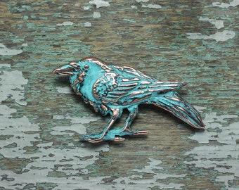 Raven brooch copper patina