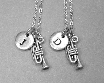 Best friend necklace, trumpet necklace, music necklace, musical instrument necklace, BFF necklace, friendship jewelry, personalized necklace