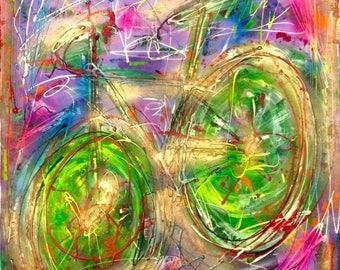 biking 2 sandra cremonese contemporary canvas art modern street urban abstract art acrylic oil 60 x 80 single signed