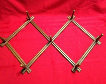 Large Folding Wood Peg Rack, Clothes, Coats, Hat Rack, Expandable Rack