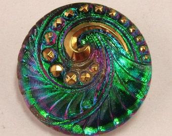 Czech Glass Button, Pendant, Spiral, Green Fuchsia Gold, 27mm C183