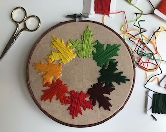Autumn Inspired Maple Leaves Hand Embroidered