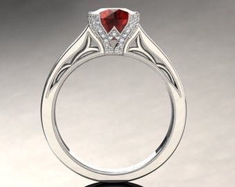 Ruby Engagement Ring 1.50 Carat Ruby And Diamond Ring In 14k or 18k White Gold. Matching Wedding Band Available SW3RUBYW