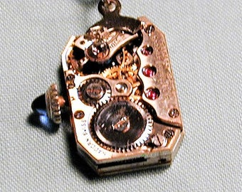 Steampunk Vintage Art Deco Era Hadorn Watch Movement Pendant with Chain OOAK #53