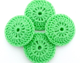 Lime Green Dish Scrubbies - Set of 2 through 8 - Crochet Nylon Pot Scrubber