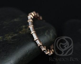 Rosados Box Baguettella 14kt Rose Gold Thin Horizontal Baguette Diamond FULL Eternity Band