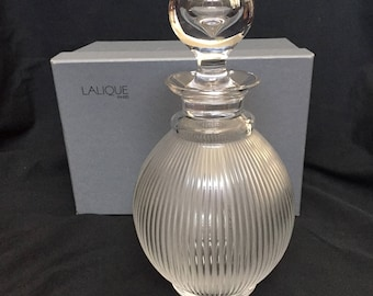 LALIQUE - Crystal Langeais Decanter - Frosted Ribbed Body - model 1537100 - absolutely mint condition WITH BOX & Stickers