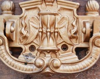 Antique Large Cast iron Door Knocker French Vintage wings hourglass door hardware gold