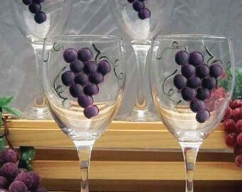 Hand Painted Grapes Wine Glasses - Set of 4