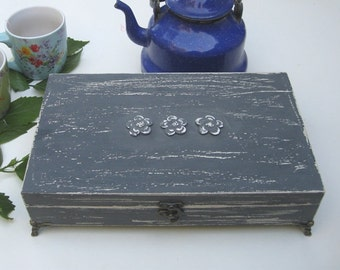 Tea box grey Shabby Chic Home Decor / Tea bag box, wooden tea box, rustic tea box