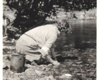 "Vintage Snapshot ""In Search Of The Perfect White Stone"" Teenage Girl Stream Creek Found Vernacular Photo Right Under Her Nose"