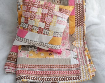 Pink Grey and White Quilt with Matching Woven Pillow