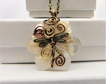Flower Jewelry for Wife, Dragonfly Pendant, Necklace for Her, Girlfriend Mom, Romantic Anniversary, Present for Her, Artistic Memorial Gift