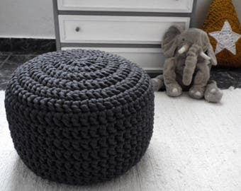 Dark Grey Round Pouf Ottoman, Charcoal Knit Floor Pillow, Nursery Footstool, Floor Cushions, Crochet Large Pouffe, Floor Seating