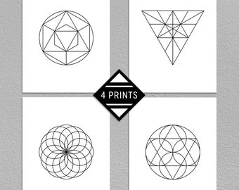 SALE 50% Set Of 4 Geometric Prints, Abstract Art, Modern, Minimalistic Print, Black And White, Printable Wall Art, 16x20, INSTANT DOWNLOAD