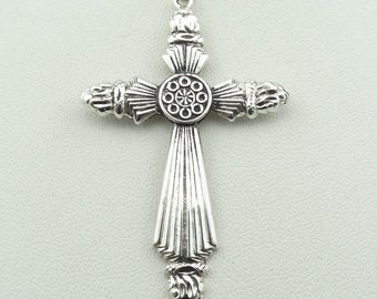 Antique Sterling Silver Ray Cross Pendant. 20 Inch Sterling Silver Chain Included!   #RAYS-XP3