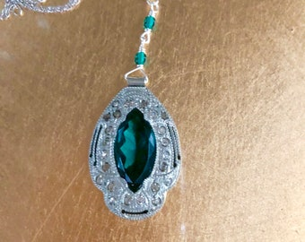 Vintage 1930's Art Deco Silver Pot Metal and Green Marquise Pendant with Paste Stones on Sterling Silver Chain