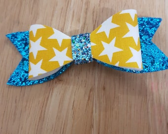 Blue glitter and star hair clip