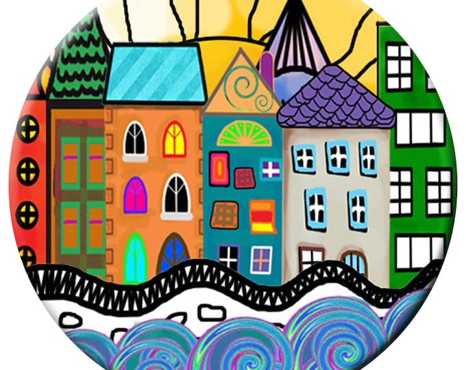 House Snap - Street Scene Snap - Compatible with Gingersnaps - - Ginger Snaps -  Magnolia and Vine - Noosa 18-20mm Base - Enamel Snap