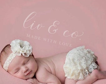 Easter Spring Ivory Cream Baby Bloomer Lace Diaper Cover Ruffle Bottom Newborn Petti Lace Photo Prop Take Home Smash Cake Birthday Outfit