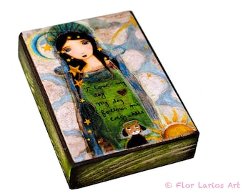 In Heaven with my Dog -  Giclee print mounted on Wood (5 x 7 inches) Folk Art  by FLOR LARIOS