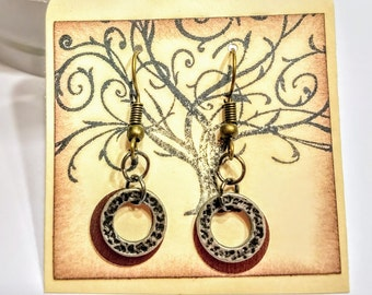 Sale!! Copper and antique silver earrings