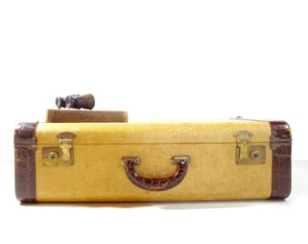 Vintage Tweed Suitcase / 1940s Yellow Tweed and Leather Suitcase / Vintage Luggage