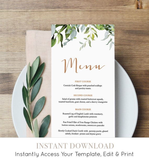 Self-Editing Menu Template, INSTANT DOWNLOAD, Printable Wedding Dinner Menu, Greenery & Gold, Wedding Reception Card, Templett #016-111WM