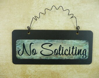 NO SOLICITING SIGN Wooden Metal Cute Chalkboard Small Wire Hanging Front Door Sign No Solicitation Black Green