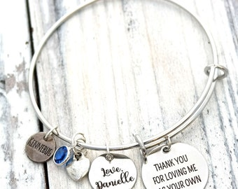 Love for my Step Mother Personalized Adjustable Wire Bangle Bracelet
