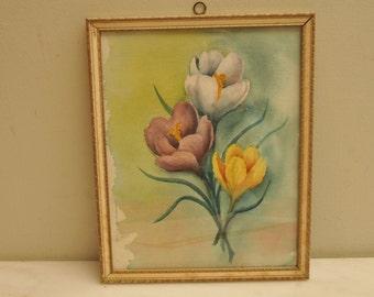 Vintage Watercolor Tulips Crocus Original Painting Flowers Framed 1950s