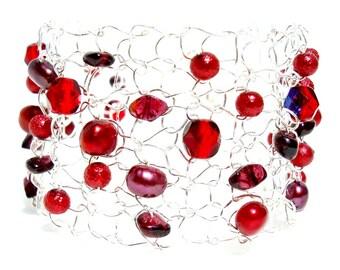 Christmas Jewelry, Garnet Bracelet, January Birthstone Jewelry, Arm Cuff Bracelet, Beaded Bracelets, Red Gemstone Bracelet Delicate Bracelet